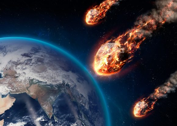 asteroids striking the Earth from space